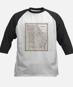Vintage Map of Georgia (1855) Baseball Jersey