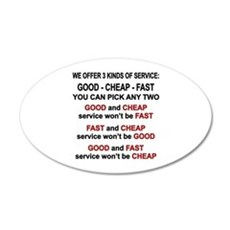 Good, Cheap, Fast Pick 2 Wall Decal
