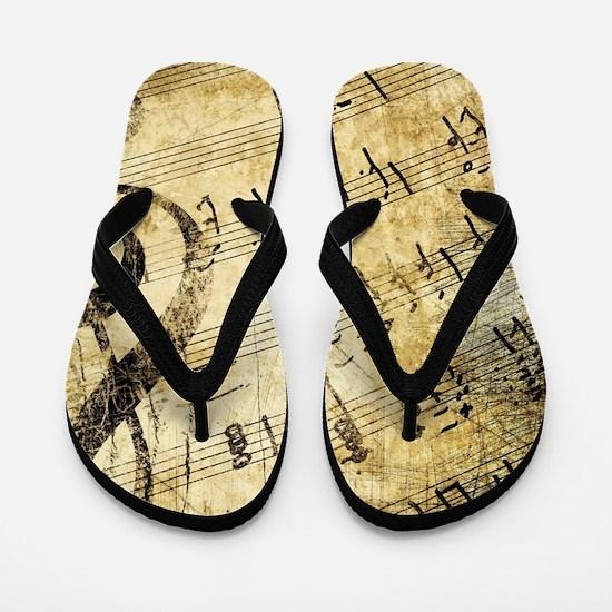 Grunge Music Note Flip Flops