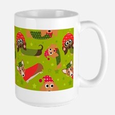 Winter Dachshund Cartoon Fun Pattern Mugs