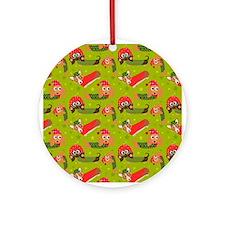 Winter Dachshund Cartoon Fun Round Ornament