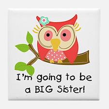 Owl Future Big Sister Tile Coaster