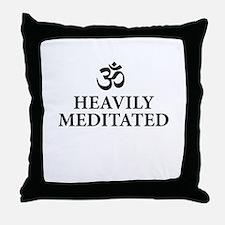 Heavily Meditated - funny yoga Throw Pillow