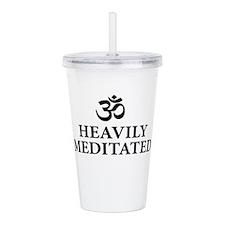 Heavily Meditated - funny yoga Acrylic Double-wall