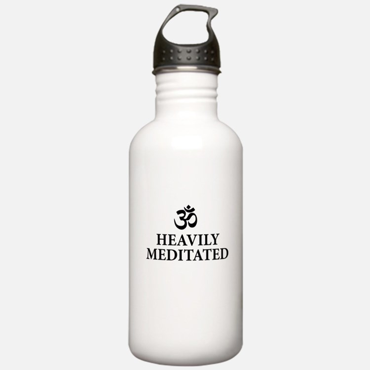 Heavily Meditated - funny yoga Water Bottle