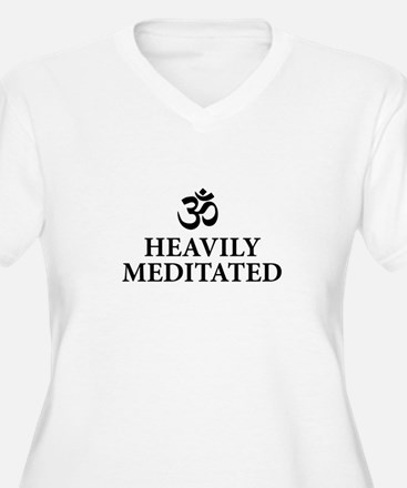 Heavily Meditated - funny yoga Plus Size T-Shirt