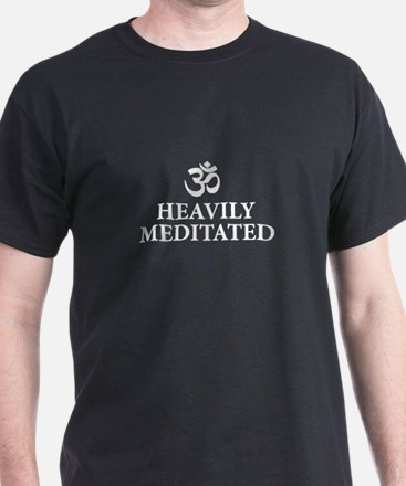 Heavily Meditated - yoga humor T-Shirt