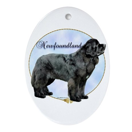 Newfie Portrait Oval Ornament