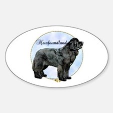 Newfie Portrait Oval Decal