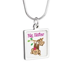 Monkey Big Sis W. Baby Bro Silver Square Necklaces