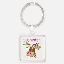 Monkey Big Sis W. Baby Bro Square Keychains