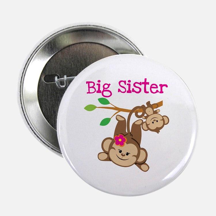 "Monkey Big Sis W. Baby Bro 2.25"" Button"