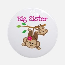Monkey Big Sis W. Baby Bro Round Ornament