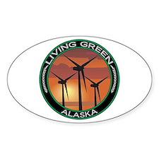 Living Green Alaska Wind Power Oval Decal