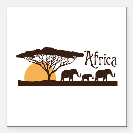"""African Sunset Square Car Magnet 3"""" x 3"""""""