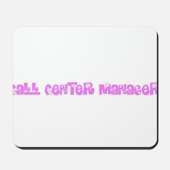 Call Center Manager Pink Flower Design Mousepad