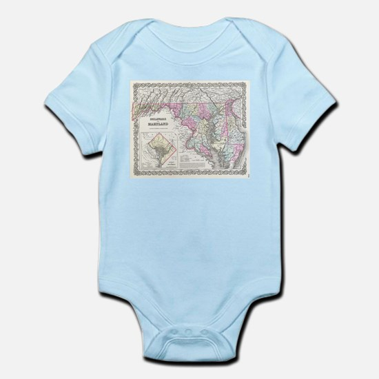 Vintage Map of Maryland (1855) Body Suit