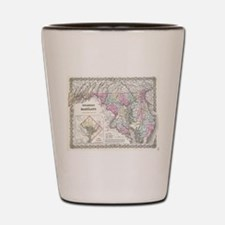 Vintage Map of Maryland (1855) Shot Glass