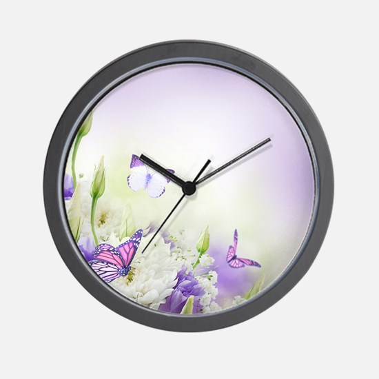 Flowers and Butterflies Wall Clock