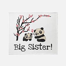 Panda Bears Big Sister Throw Blanket