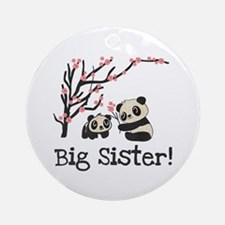 Panda Bears Big Sister Round Ornament