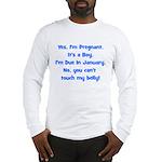 Pregnant Boy Due January Bell Long Sleeve T-Shirt