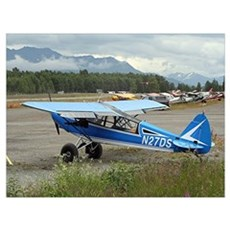 High wing aircraft (blue & white) Poster