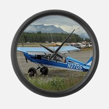 High wing aircraft (blue & white) Large Wall Clock