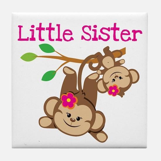 Monkeys Little Sis W Big Sis Tile Coaster