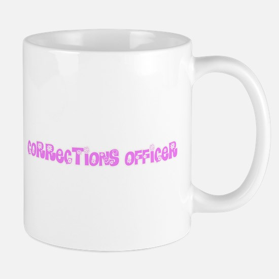 Corrections Officer Pink Flower Design Mugs