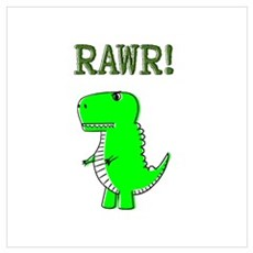 Cute Angry T-Rex RAWR Canvas Art