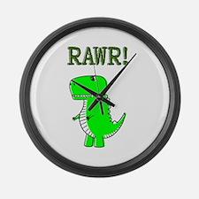 Cute Angry T-Rex RAWR Large Wall Clock