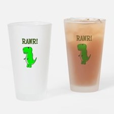 Cute Angry T-Rex RAWR Drinking Glass