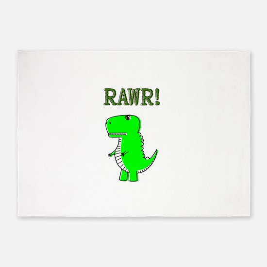 Cute Angry T-Rex RAWR 5'x7'Area Rug