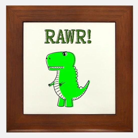 Cute Angry T-Rex RAWR Framed Tile