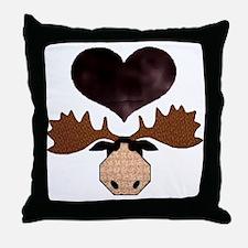 Brown Heart Moose Throw Pillow