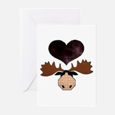 Brown Heart Moose Greeting Cards (Pk of 20)