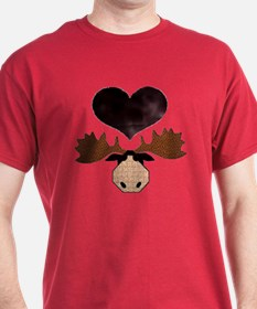 Brown Heart Moose T-Shirt