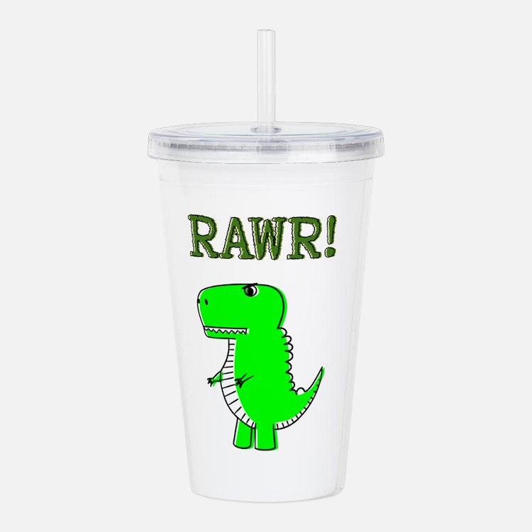 Cute Angry T-Rex RAWR Acrylic Double-wall Tumbler