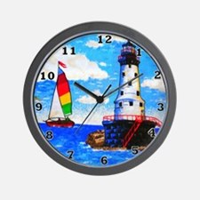 Lighthouse And Sailboat Wall Clock