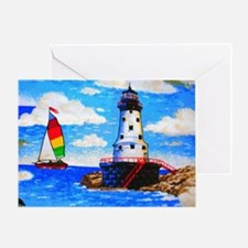 Lighthouse And Sailboat Card Greeting Cards