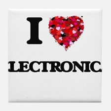 I Love My ELECTRONICA Tile Coaster