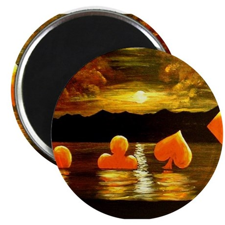 "Unique Poker Art Rising Suits 2.25"" Magnet (10 pac"