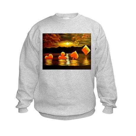 Unique Poker Art Rising Suits Kids Sweatshirt