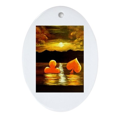 Unique Poker Art Rising Suits Oval Ornament