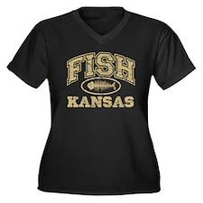 Fish Kansas Women's Plus Size V-Neck Dark T-Shirt