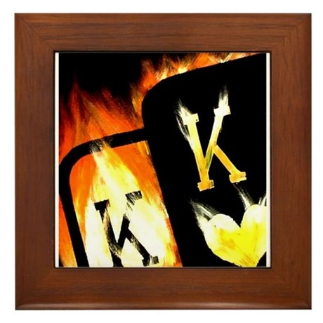 FLAMING POCKET KINGS COWBOYS POKER Framed Tile