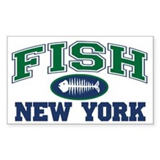 Fish New York Rectangle Decal