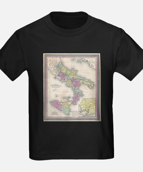 Vintage Map of Southern Italy (1853) T-Shirt