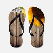 rustic barn yellow sunflower Flip Flops